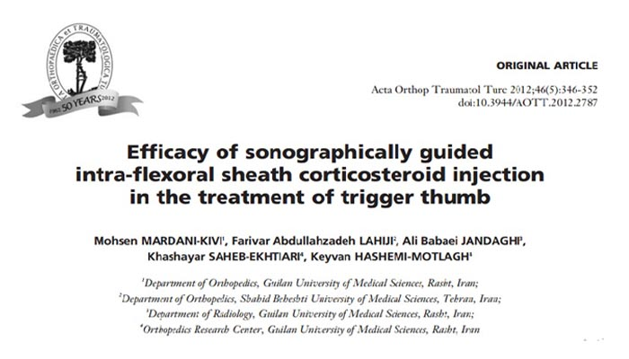 Efficacy of sonographically guided intra-flexoral sheath corticosteroid injection in the treatment of trigger thumb