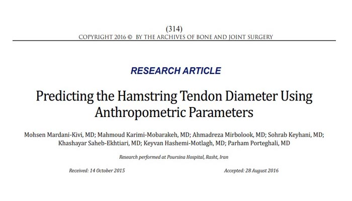 Predicting the Hamstring Tendon Diameter Using Anthropometric Parameters