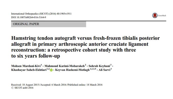Hamstring tendon autograft versus fresh-frozen tibialis posterior allograft in primary arthroscopic anterior cruciate ligament reconstruction: a retrospective cohort study with three to six years follow-up
