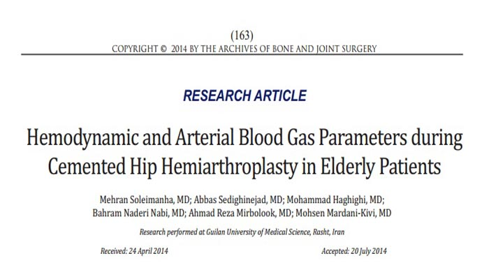 Hemodynamic and Arterial Blood Gas Parameters during Cemented Hip Hemiarthroplasty in Elderly Patients