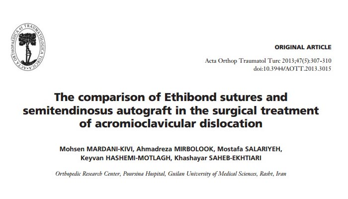 The comparison of Ethibond sutures and semitendinosus autograft in the surgical treatment of acromioclavicular dislocation