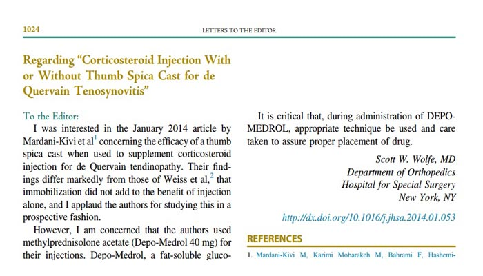 Corticosteroid Injection With or Without Thumb Spica Cast for de Quervain Tenosynovitis