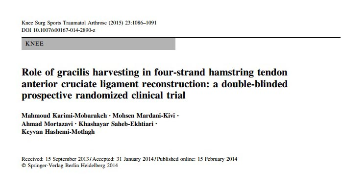 Role of gracilis harvesting in four-strand hamstring tendon anterior cruciate ligament reconstruction, a double-blinded prospective randomized clinical trial